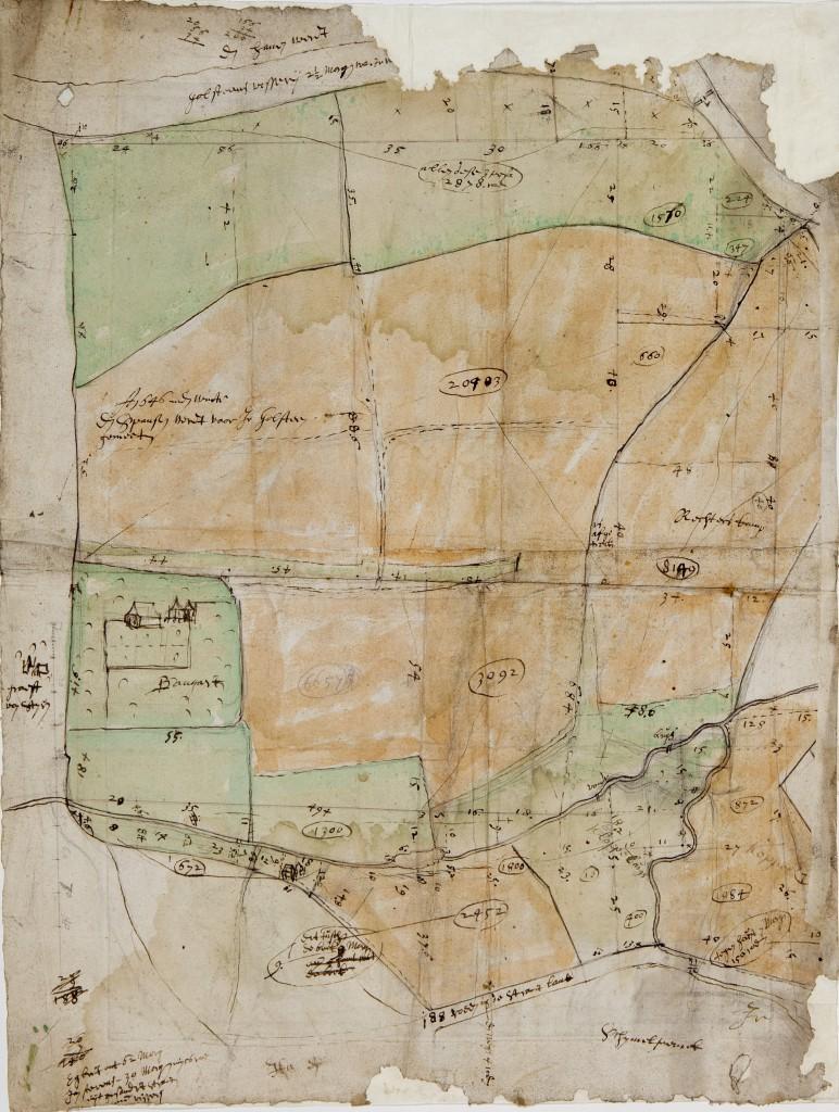 Door de bekende Nederlandse cartograaf Nicolaes Geelkercken in opdracht van Jonkheer Goltstein getekende kaart van Spaensweerd ca 1650.